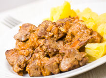 Chicken livers in a creamy sauce with potato Royalty Free Stock Photo