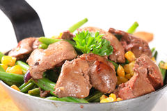 Chicken livers with green beans and corn Royalty Free Stock Photos