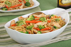 Chicken Lo Mein Meal. Chicken lo mein with carrots and broccoli royalty free stock image