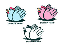 Chicken logo hand nature health Stock Images