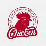 Chicken logo, label, print, poster for butcher shop, farmer. Market, groceries, meat stores. Red rooster head silhouette. Chicken hand written lettering word Royalty Free Stock Photography
