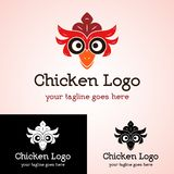 Chicken Logo Template. Chicken head with red cockscomb and feather Stock Photos