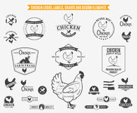 Chicken Logos, Labels, Charts and Design Elements Royalty Free Stock Photography