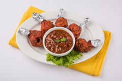 Chicken lollipop or chicken winglet Stock Photo