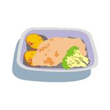 Chicken lunch. Square cup of chicken with fried potatoes and broccoli Royalty Free Stock Image