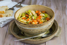 Chicken and macaroni soup Royalty Free Stock Photos