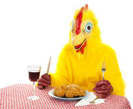 Chicken Man Eating Dinner Royalty Free Stock Image