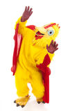 Chicken Man - Sky is Falling. Man in a chicken suit afraid the sky is falling.  Full body isolated Royalty Free Stock Photos