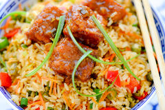 Chicken Manchurian and Singapore Fried rice. Chicken Manchurian served over singapore fried rice Royalty Free Stock Photo
