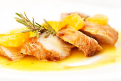 Chicken with mandarin sauce royalty free stock images