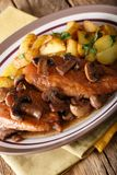 Chicken Marsala with champignons and garnish of potatoes close-u Royalty Free Stock Photography