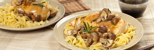 Chicken Marsala dinner Stock Photography