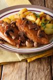 Chicken in Marsala sauce with mushrooms and fried potatoes close Stock Photography