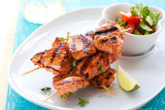 Chicken masala skewers Stock Photos