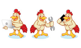 Chicken Mascot with phone. Chicken Mascot vector bring phone and laptop Royalty Free Stock Photography