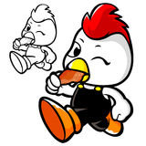 Chicken Mascot in shop to promote. An animal Character Design Se Royalty Free Stock Image