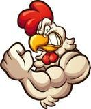 Strong cartoon chicken mascot flexing arm