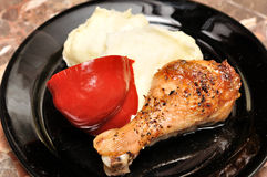 Chicken with mash potatoes Stock Photos