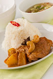 Chicken massaman curry. Thai food, Chicken massaman curry with steamed rice Royalty Free Stock Photos