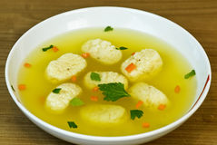 Chicken Matzah ball soup  Stock Photos