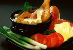 Chicken meal. The Arrangement of fresh food stock image