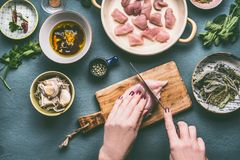 Chicken meal cooking concept. Female hands cutting chicken breast meat on kitchen tables background. With bowls , oil , soy sauce and ingredients, top view Stock Photography