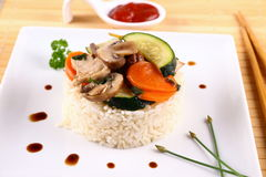Chicken meat, asian rice, zucchini, carrots Stock Image