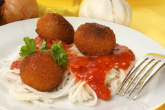 Chicken meat balls with pasta Royalty Free Stock Image