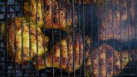 Chicken meat on a barbecue grill stock footage