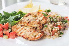 Chicken meat with bulgur and rocket salad Royalty Free Stock Photo