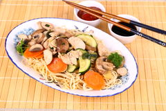 Chicken meat, china-asian noodle, vegetables Stock Photo