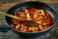 Chicken meat and chorizo cooking in the frying pan Royalty Free Stock Images