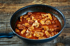 Chicken meat and chorizo cooking in the frying pan Royalty Free Stock Photos