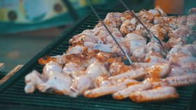 Chicken Meat Cooking on a Barbecue Grill. Slow Motion. Grilled chicken on the grill. Chicken cooking on a barbeque grill. Slow Motion in 96 fps. Hand Using Tongs stock video