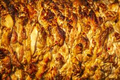 Chicken meat for cooking shawarma. fast food. street food. protein food