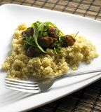 Chicken meat on couscous. Chicken meat with rucola on couscous Royalty Free Stock Photo