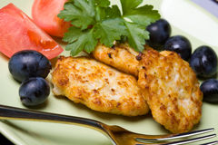 Chicken meat cutlets Royalty Free Stock Photos