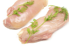 Chicken meat with dills Stock Photos