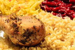 Chicken meat drumstick with rice and salad Stock Images