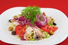 Chicken meat filet salad Royalty Free Stock Photography