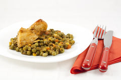 Chicken meat with green peas, carrots and corns Royalty Free Stock Photo