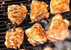 Chicken meat on the gril Royalty Free Stock Photos