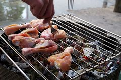 Chicken meat on a grill. Garden party stock photography