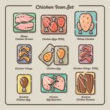 Chicken meat icons set. Legs, wings, breasts, whole chicken, meat icons. vector illustration