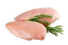 Chicken fillet isolated decorated with herbs Stock Image