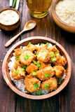 Chicken meat with orange sauce and green onion Stock Photos