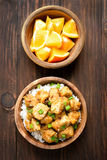 Chicken meat over rice Royalty Free Stock Images