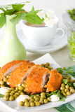 Chicken meat with pea Royalty Free Stock Images