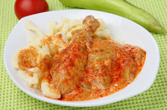 Chicken meat in red pepper sauce with pasta. On plate Royalty Free Stock Image