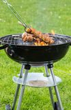 Chicken meat skewer on grill Stock Image